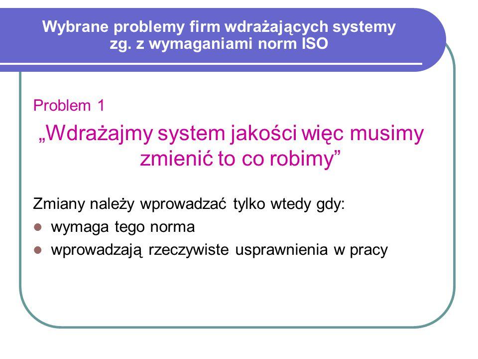 Wybrane problemy firm wdrażających systemy zg.