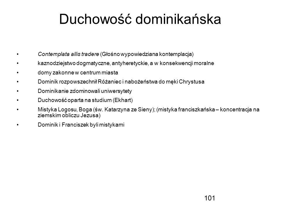 101 Duchowość dominikańska Contemplata allis tradere (Głośno wypowiedziana kontemplacja) kaznodziejstwo dogmatyczne, antyheretyckie, a w konsekwencji