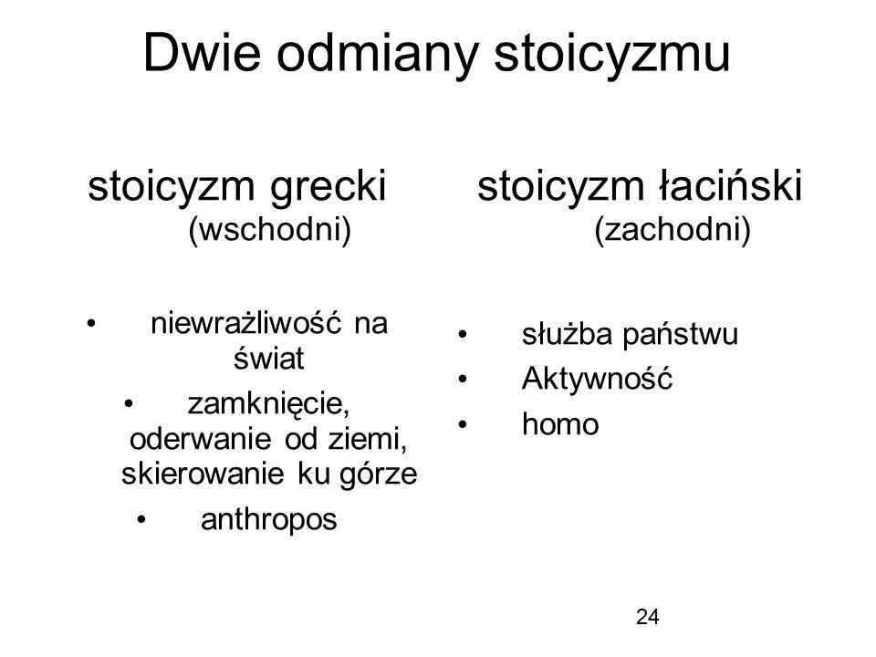 24 Dwie odmiany stoicyzmu stoicyzm grecki (wschodni) niewrażliwość na świat zamknięcie, oderwanie od ziemi, skierowanie ku górze anthropos stoicyzm ła
