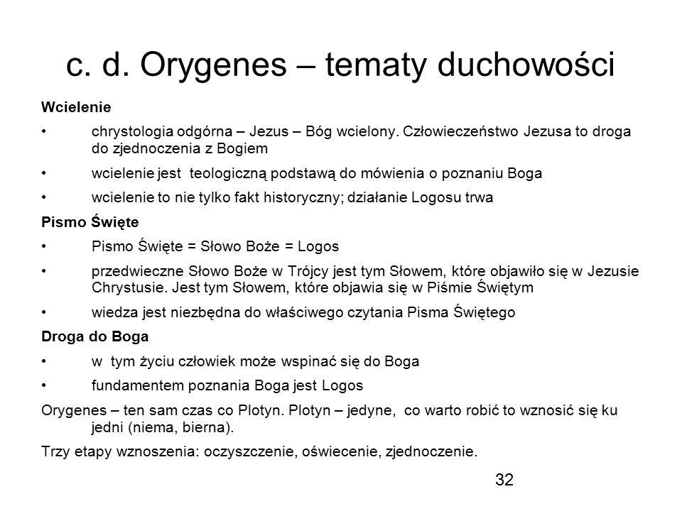 32 c. d. Orygenes – tematy duchowości Wcielenie chrystologia odgórna – Jezus – Bóg wcielony. Człowieczeństwo Jezusa to droga do zjednoczenia z Bogiem