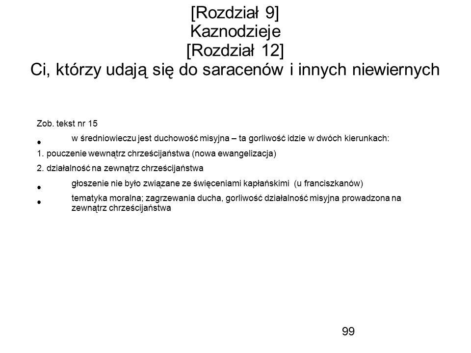 99 [Rozdział 9] Kaznodzieje [Rozdział 12] Ci, którzy udają się do saracenów i innych niewiernych Zob. tekst nr 15 w średniowieczu jest duchowość misyj