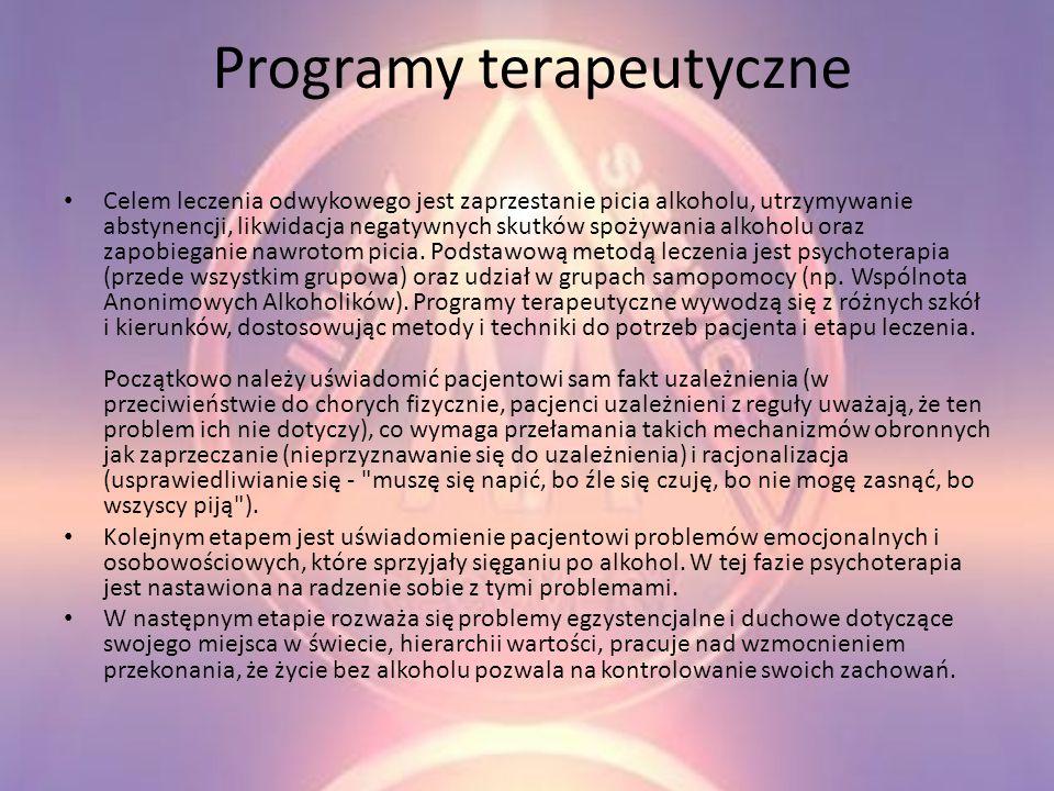 Sposoby leczenia *Programy terapeutyczne *Metody farmakologiczne * Akamprosat
