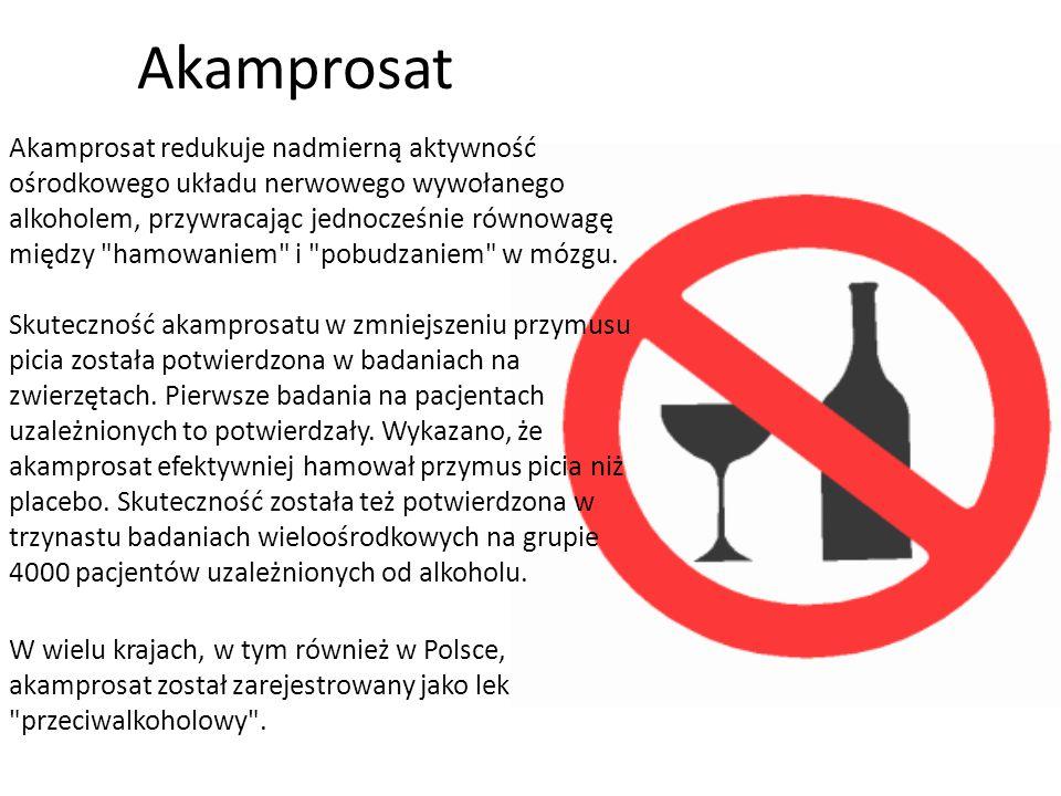 Metody farmakologiczne Przeprowadzono wiele badań różnych środków farmakologicznych w zapobieganiu nawrotom picia i zmniejszeniu głodu alkoholowego. S