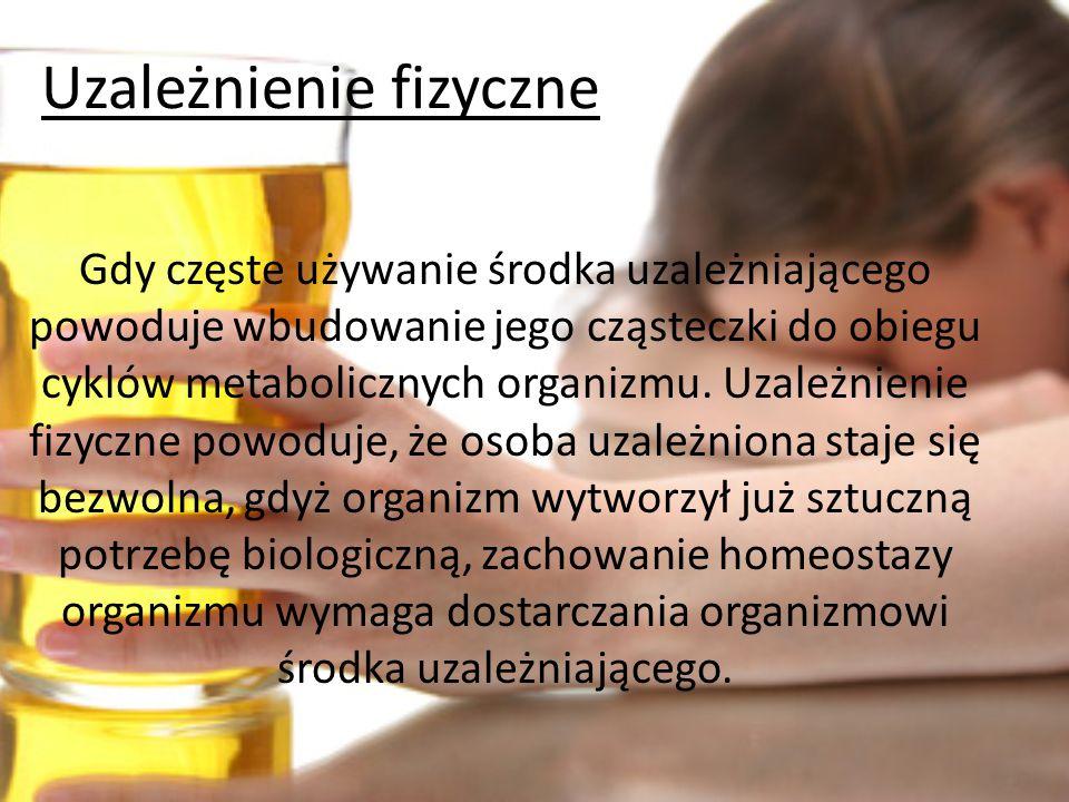 Wyróżniamy trzy typy uzależnień alkoholowych: *Uzależnienie fizyczne *Uzależnienie psychiczne *Uzależnienie społeczne Typy uzależnień