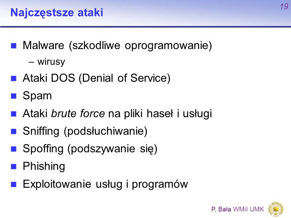 P. Bała P. Bała WMiI UMK 19 Najczęstsze ataki Malware (szkodliwe oprogramowanie) –wirusy Ataki DOS (Denial of Service) Spam Ataki brute force na pliki