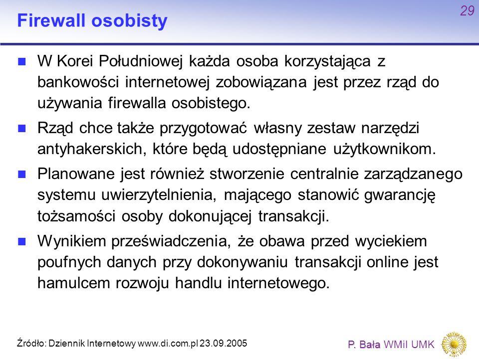 P. Bała P. Bała WMiI UMK 29 Firewall osobisty W Korei Południowej każda osoba korzystająca z bankowości internetowej zobowiązana jest przez rząd do uż
