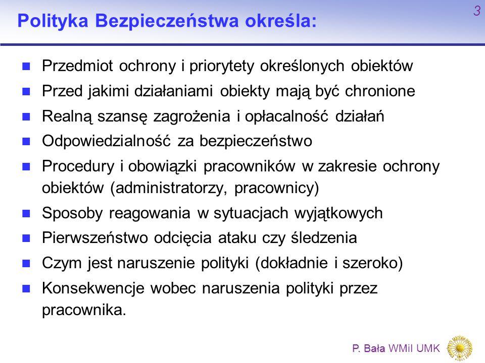 P. Bała P. Bała WMiI UMK 3 Polityka Bezpieczeństwa określa: Przedmiot ochrony i priorytety określonych obiektów Przed jakimi działaniami obiekty mają