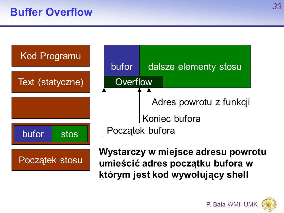 P. Bała P. Bała WMiI UMK 33 Buffer Overflow Kod Programu Text (statyczne) Początek stosu buforstos bufordalsze elementy stosu Początek bufora Koniec b