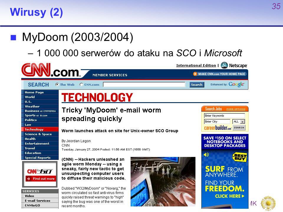 P. Bała P. Bała WMiI UMK 35 Wirusy (2) MyDoom (2003/2004) –1 000 000 serwerów do ataku na SCO i Microsoft