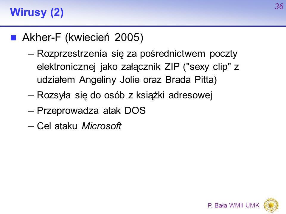 P. Bała P. Bała WMiI UMK 36 Wirusy (2) Akher-F (kwiecień 2005) –Rozprzestrzenia się za pośrednictwem poczty elektronicznej jako załącznik ZIP (
