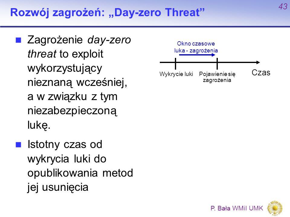 """P. Bała P. Bała WMiI UMK 43 Okno czasowe luka - zagrożenia Pojawienie się zagrożenia Rozwój zagrożeń: """"Day-zero Threat"""" Zagrożenie day-zero threat to"""