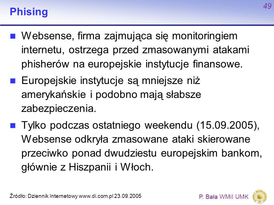 P. Bała P. Bała WMiI UMK 49 Phising Websense, firma zajmująca się monitoringiem internetu, ostrzega przed zmasowanymi atakami phisherów na europejskie