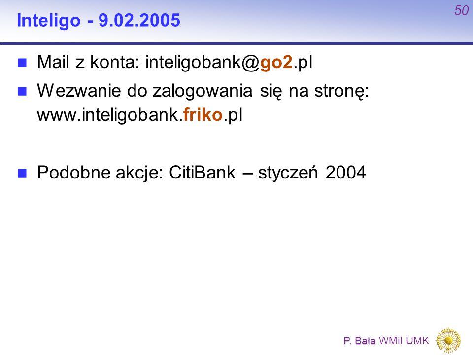 P. Bała P. Bała WMiI UMK 50 Inteligo - 9.02.2005 Mail z konta: inteligobank@go2.pl Wezwanie do zalogowania się na stronę: www.inteligobank.friko.pl Po
