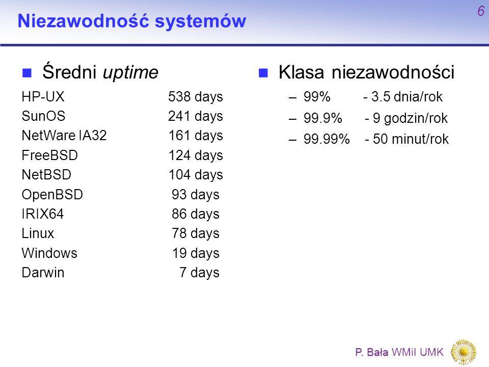P. Bała P. Bała WMiI UMK 6 Niezawodność systemów Klasa niezawodności –99% - 3.5 dnia/rok –99.9% - 9 godzin/rok –99.99% - 50 minut/rok Średni uptime HP