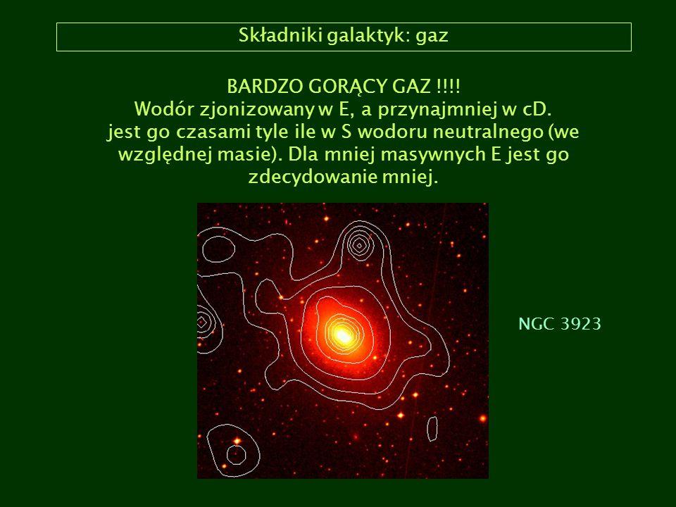 Składniki galaktyk: gaz BARDZO GORĄCY GAZ !!!! Wodór zjonizowany w E, a przynajmniej w cD. jest go czasami tyle ile w S wodoru neutralnego (we względn