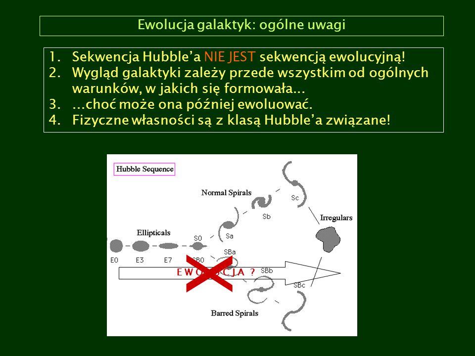 Ewolucja galaktyk: ogólne uwagi 1.Sekwencja Hubble'a NIE JEST sekwencją ewolucyjną! 2.Wygląd galaktyki zależy przede wszystkim od ogólnych warunków, w