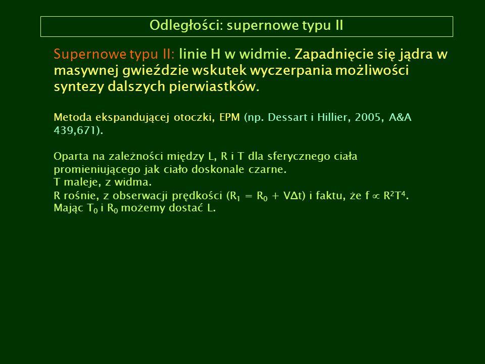 Odległości: supernowe typu II Supernowe typu II: linie H w widmie. Zapadnięcie się jądra w masywnej gwieździe wskutek wyczerpania możliwości syntezy d