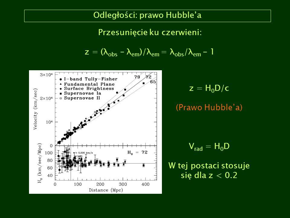 Odległości: prawo Hubble'a Przesunięcie ku czerwieni: z = (λ obs – λ em )/λ em = λ obs /λ em - 1 z = H 0 D/c (Prawo Hubble'a) V rad = H 0 D W tej post