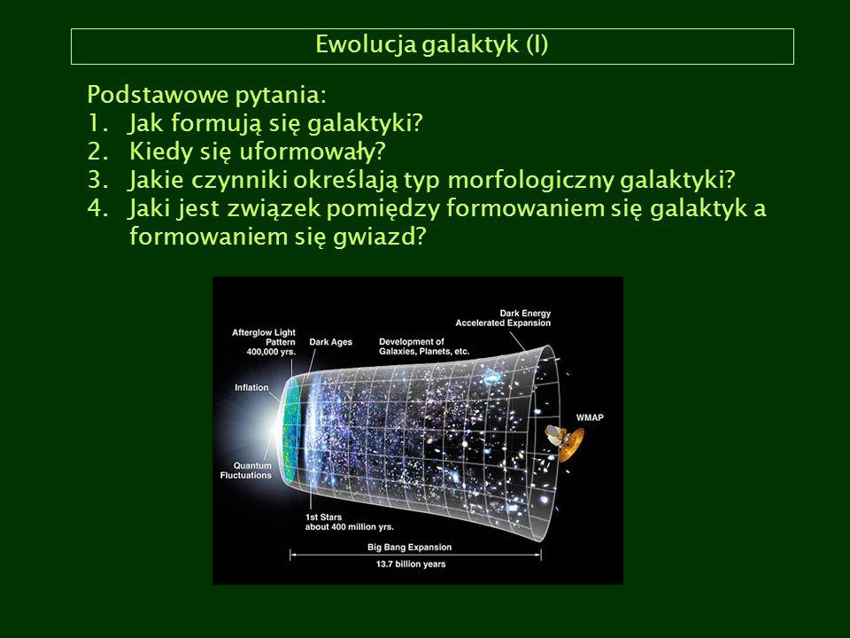 Ewolucja galaktyk (I) Podstawowe pytania: 1.Jak formują się galaktyki? 2.Kiedy się uformowały? 3.Jakie czynniki określają typ morfologiczny galaktyki?