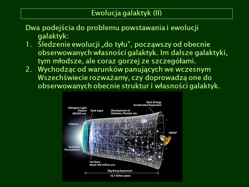 """Ewolucja galaktyk (II) Dwa podejścia do problemu powstawania i ewolucji galaktyk: 1.Śledzenie ewolucji """"do tyłu"""", począwszy od obecnie obserwowanych w"""