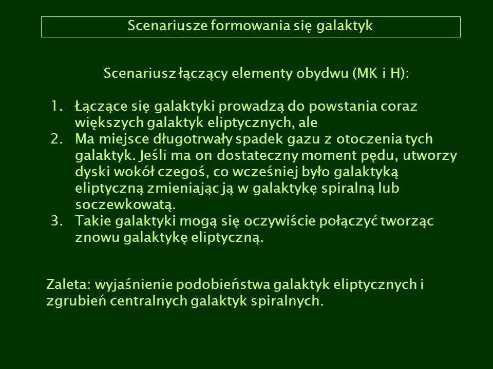 Scenariusze formowania się galaktyk Scenariusz łączący elementy obydwu (MK i H): 1.Łączące się galaktyki prowadzą do powstania coraz większych galakty