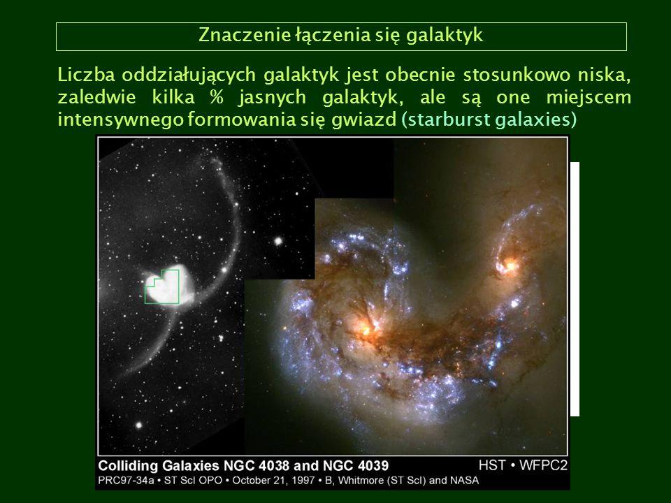 Znaczenie łączenia się galaktyk Liczba oddziałujących galaktyk jest obecnie stosunkowo niska, zaledwie kilka % jasnych galaktyk, ale są one miejscem i
