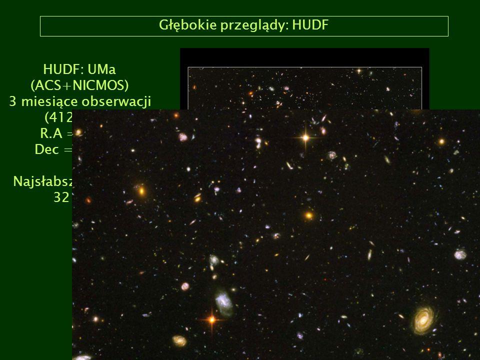 Głębokie przeglądy: HUDF HUDF: UMa (ACS+NICMOS) 3 miesiące obserwacji (412 orbit) R.A = 3:32, Dec = -27:47 Najsłabsze galaktyki 32 mag