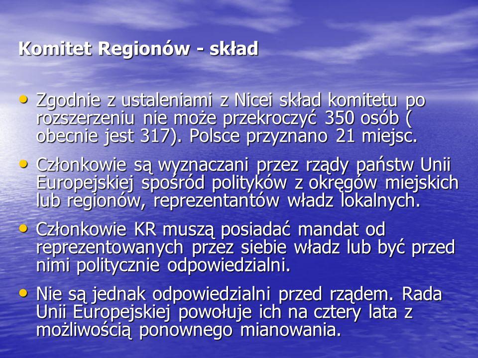 Komitet Regionów - skład Zgodnie z ustaleniami z Nicei skład komitetu po rozszerzeniu nie może przekroczyć 350 osób ( obecnie jest 317). Polsce przyzn