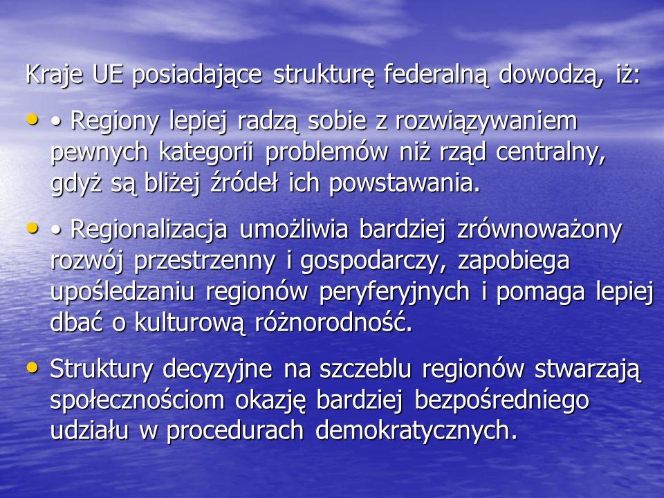 Kraje UE posiadające strukturę federalną dowodzą, iż: Regiony lepiej radzą sobie z rozwiązywaniem pewnych kategorii problemów niż rząd centralny, gdyż