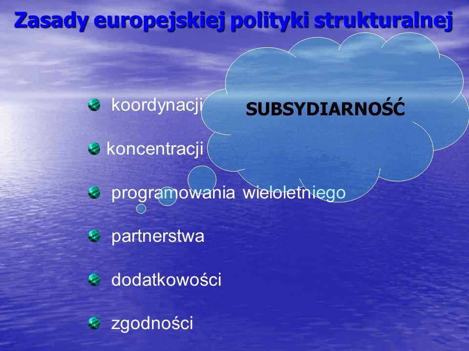 Zasady europejskiej polityki strukturalnej koordynacji koncentracji programowania wieloletniego partnerstwa dodatkowości zgodności SUBSYDIARNOŚĆ