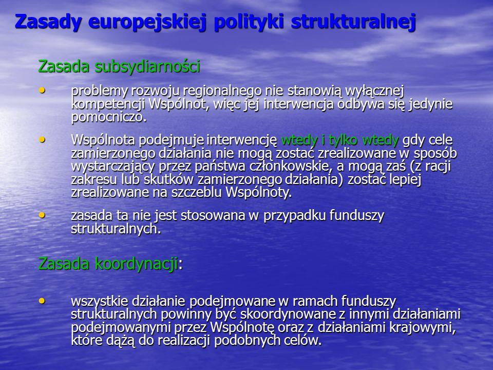 Zasady europejskiej polityki strukturalnej Zasada subsydiarności problemy rozwoju regionalnego nie stanowią wyłącznej kompetencji Wspólnot, więc jej i