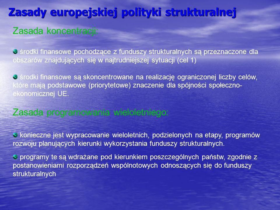 Zasady europejskiej polityki strukturalnej Zasada koncentracji: środki finansowe pochodzące z funduszy strukturalnych są przeznaczone dla obszarów zna