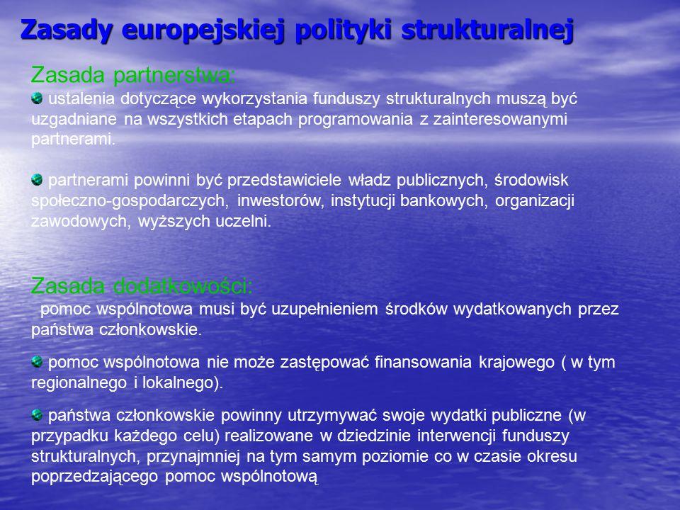 Zasady europejskiej polityki strukturalnej Zasada partnerstwa: ustalenia dotyczące wykorzystania funduszy strukturalnych muszą być uzgadniane na wszys