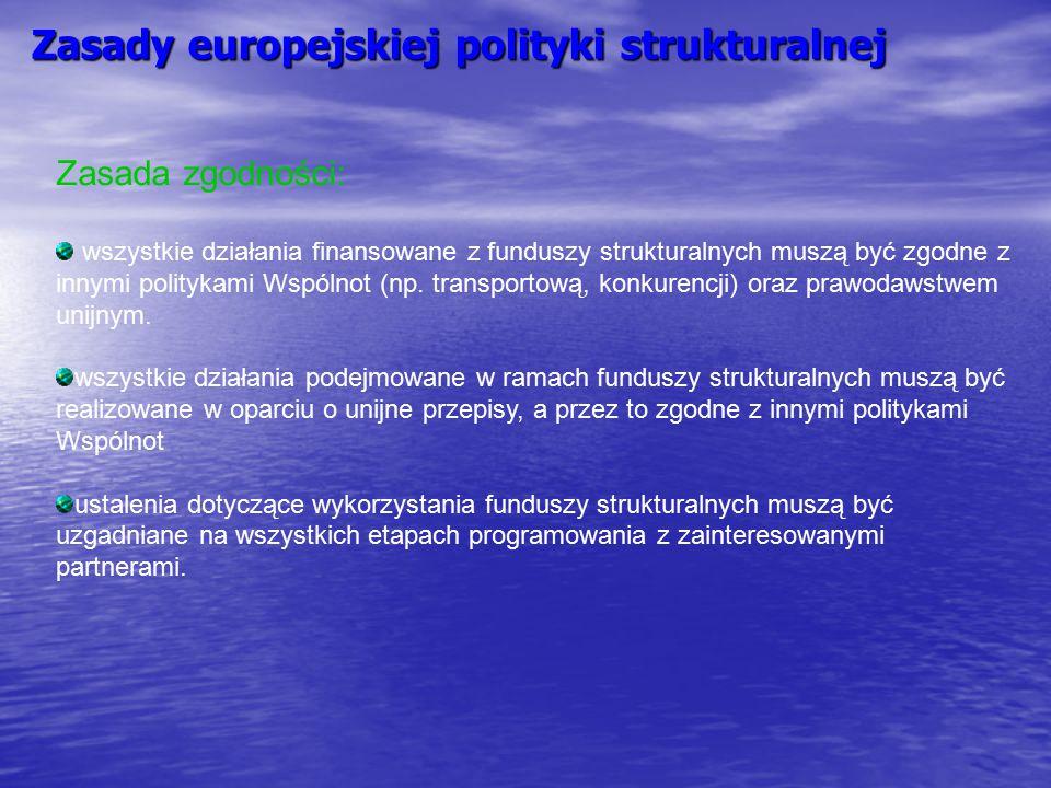 Zasady europejskiej polityki strukturalnej Zasada zgodności: wszystkie działania finansowane z funduszy strukturalnych muszą być zgodne z innymi polit