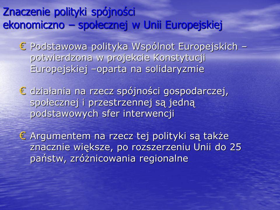 Znaczenie polityki spójności ekonomiczno – społecznej w Unii Europejskiej € Podstawowa polityka Wspólnot Europejskich – potwierdzona w projekcie Konst