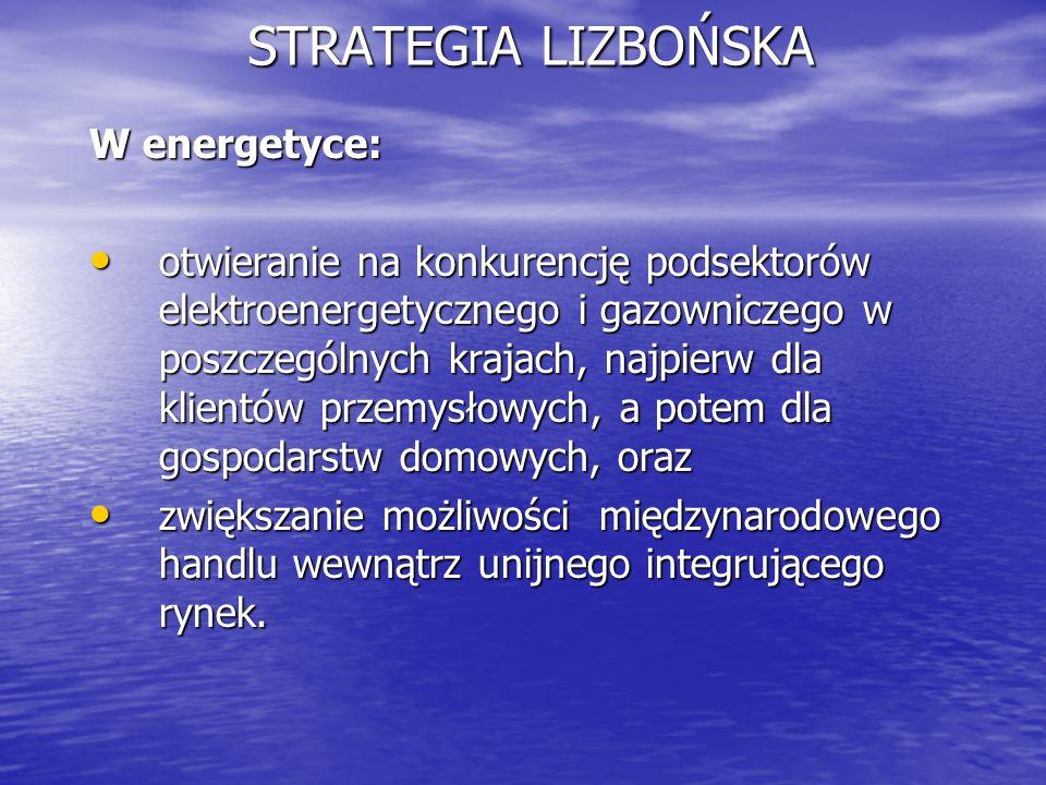 STRATEGIA LIZBOŃSKA W energetyce: otwieranie na konkurencję podsektorów elektroenergetycznego i gazowniczego w poszczególnych krajach, najpierw dla kl