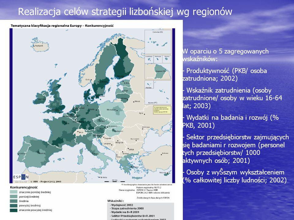 Realizacja celów strategii lizbońskiej wg regionów W oparciu o 5 zagregowanych wskaźników: - Produktywność (PKB/ osoba zatrudniona; 2002) - Wskaźnik z