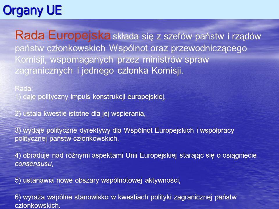 Organy UE Rada Europejska składa się z szefów państw i rządów państw członkowskich Wspólnot oraz przewodniczącego Komisji, wspomaganych przez ministró