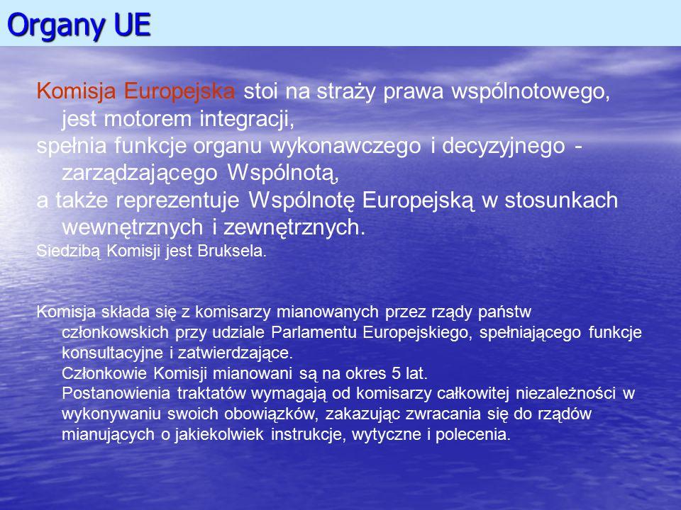 Organy UE Komisja Europejska stoi na straży prawa wspólnotowego, jest motorem integracji, spełnia funkcje organu wykonawczego i decyzyjnego - zarządza