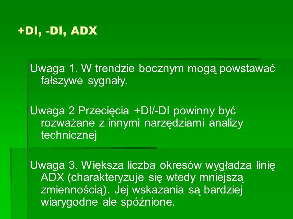 +DI, -DI, ADX Uwaga 1.W trendzie bocznym mogą powstawać fałszywe sygnały.