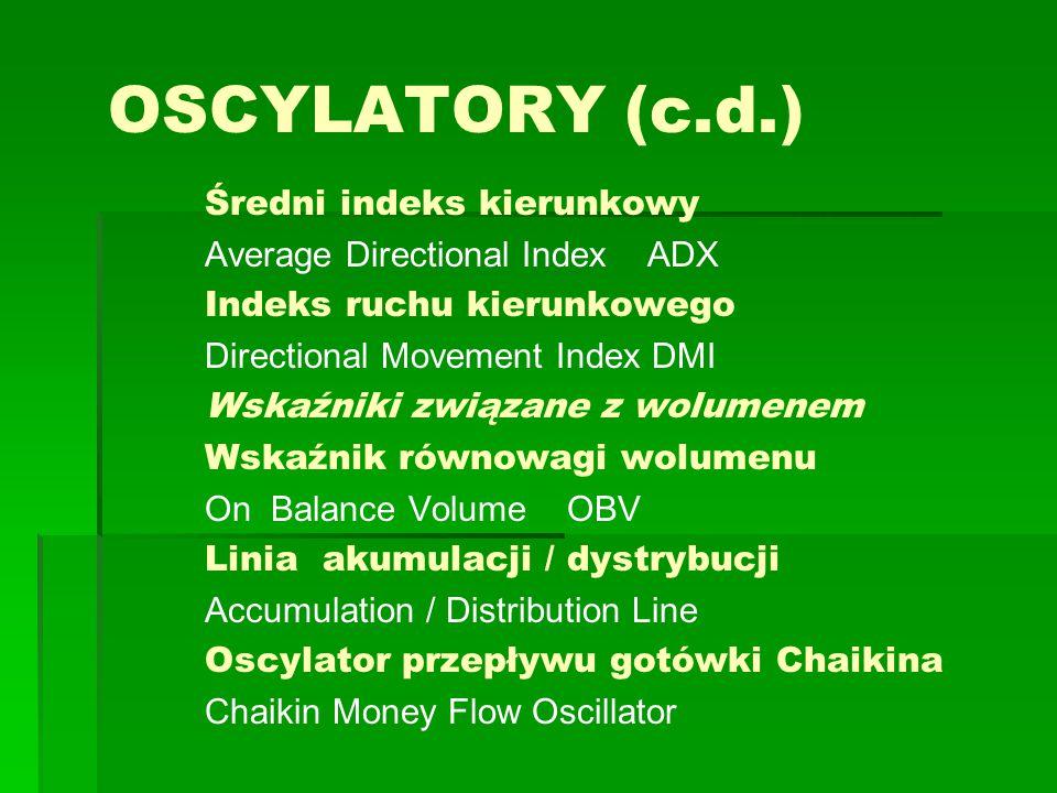 OSCYLATORY (c.d.) Średni indeks kierunkowy Average Directional Index ADX Indeks ruchu kierunkowego Directional Movement Index DMI Wskaźniki związane z wolumenem Wskaźnik równowagi wolumenu On Balance Volume OBV Linia akumulacji / dystrybucji Accumulation / Distribution Line Oscylator przepływu gotówki Chaikina Chaikin Money Flow Oscillator