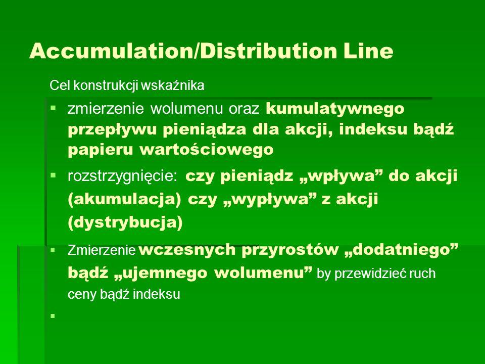 """Accumulation/Distribution Line Cel konstrukcji wskaźnika   zmierzenie wolumenu oraz kumulatywnego przepływu pieniądza dla akcji, indeksu bądź papieru wartościowego   rozstrzygnięcie: czy pieniądz """"wpływa do akcji (akumulacja) czy """"wypływa z akcji (dystrybucja)   Zmierzenie wczesnych przyrostów """"dodatniego bądź """"ujemnego wolumenu by przewidzieć ruch ceny bądź indeksu  """