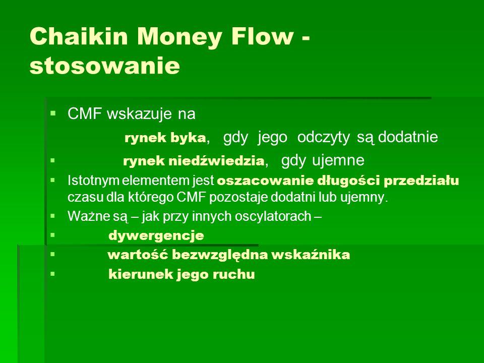 Chaikin Money Flow - stosowanie   CMF wskazuje na rynek byka, gdy jego odczyty są dodatnie   rynek niedźwiedzia, gdy ujemne   Istotnym elementem