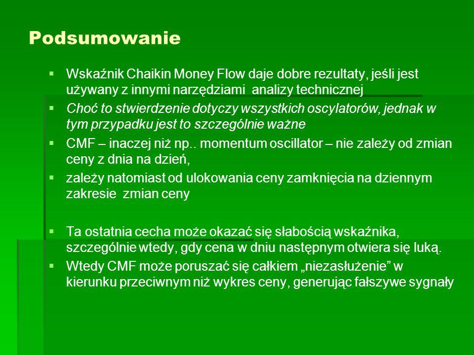 Podsumowanie   Wskaźnik Chaikin Money Flow daje dobre rezultaty, jeśli jest używany z innymi narzędziami analizy technicznej   Choć to stwierdzenie dotyczy wszystkich oscylatorów, jednak w tym przypadku jest to szczególnie ważne   CMF – inaczej niż np..