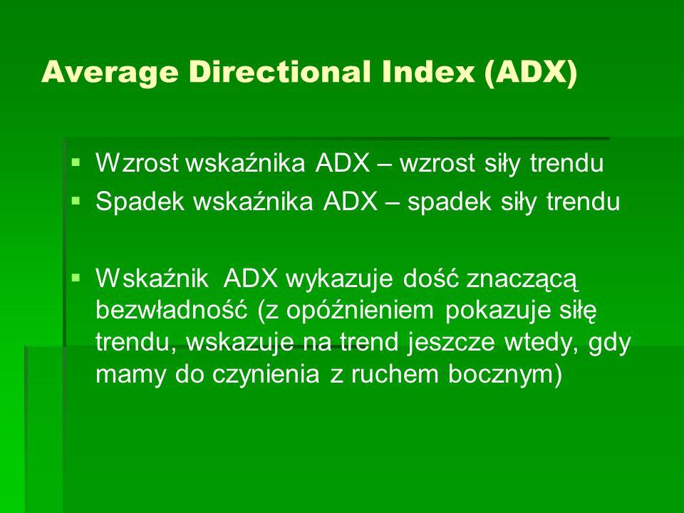 Average Directional Index (ADX)   Wzrost wskaźnika ADX – wzrost siły trendu   Spadek wskaźnika ADX – spadek siły trendu   Wskaźnik ADX wykazuje dość znaczącą bezwładność (z opóźnieniem pokazuje siłę trendu, wskazuje na trend jeszcze wtedy, gdy mamy do czynienia z ruchem bocznym)