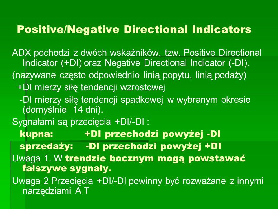 Positive/Negative Directional Indicators ADX pochodzi z dwóch wskaźników, tzw.