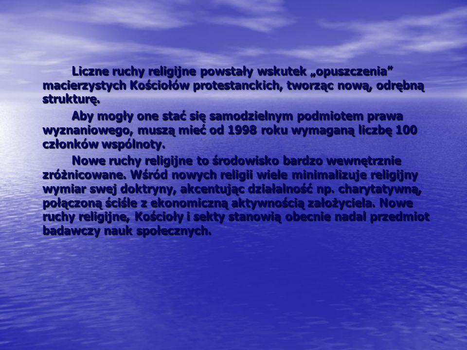 Przykładowe nazwy nowych ruchów religijnych w Polsce Ruchy badackie, Ruchy badackie, Kościół Chrześcijański, Kościół Chrześcijański, Zbór Ewangelii Łaski, Zbór Ewangelii Łaski, Misja Łaski, Misja Łaski, Misja Pokoleń, Misja Pokoleń, Wspólnota Unitarian Uniwersalistów, Wspólnota Unitarian Uniwersalistów, Uczniowie Ducha Świętego, Uczniowie Ducha Świętego, Towarzystwo Świadomości Kryszny, Towarzystwo Świadomości Kryszny, Towarzystwo Rozwoju Duchowego (Joga), Towarzystwo Rozwoju Duchowego (Joga), Miasto Jezusa Chrystusa Jeruzalem Nowe, Miasto Jezusa Chrystusa Jeruzalem Nowe, Polski Ruch Neopogański, Polski Ruch Neopogański,