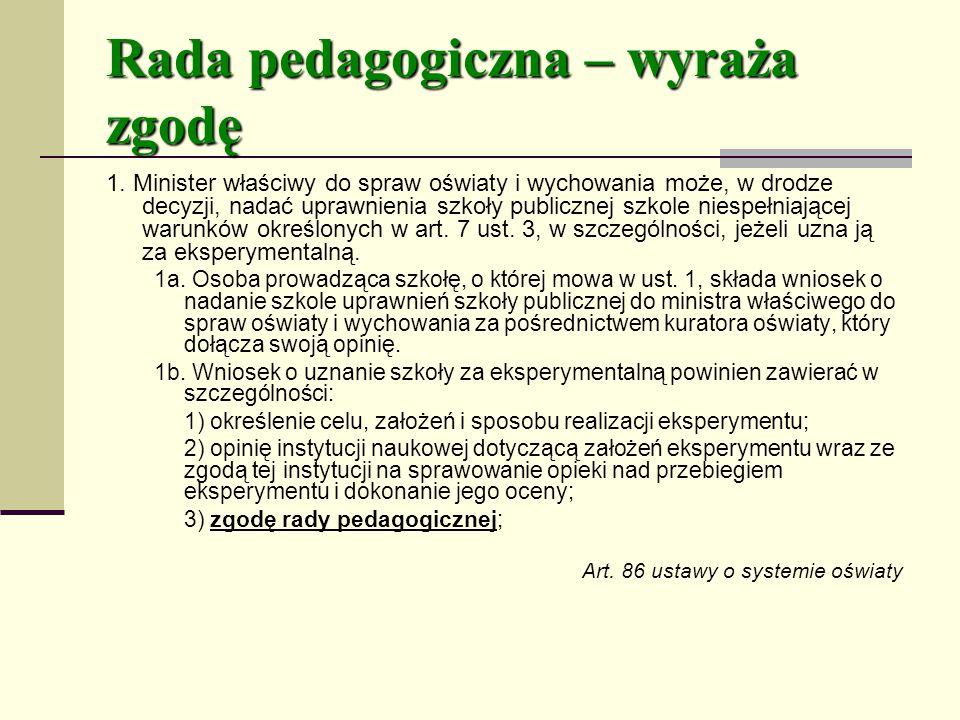 Rada pedagogiczna – wyraża zgodę 1.