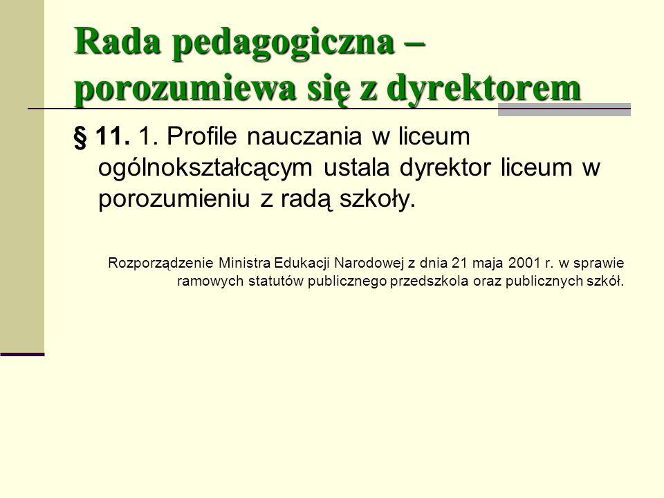 Rada pedagogiczna – porozumiewa się z dyrektorem § 11.