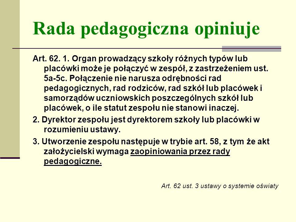 Rada pedagogiczna opiniuje Art.62. 1.